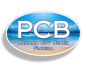 Panama City Beach PCB Sticker Custom Printed Oval Decal Cup Cooler Car Truck Laptop Graphic Florida FL