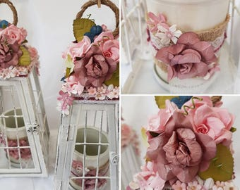 Wedding Center Piece for tables Vintage style, Beach Themed Metal Lantern Center Piece, Floral Candle Lantern Holder for  battery candles