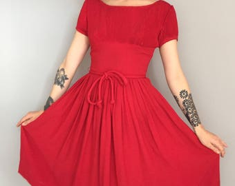 Xs 1950s red fit and flare party dress