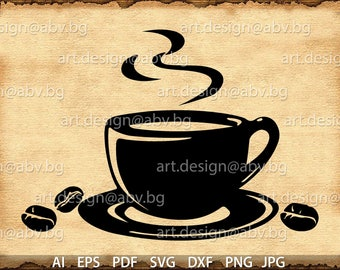 Vector CUP of COFFEE, AI, eps, pdf, svg, dxf, png, jpg Download, discount coupons, discount coupons