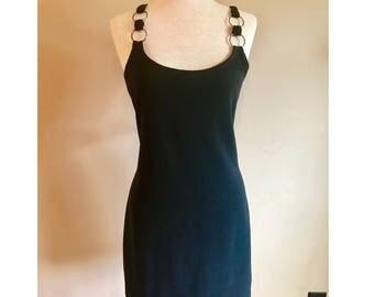 Vintage 90's club rave mod silver rings straps little black minidress Medium