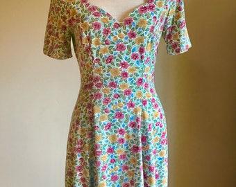 Vintage 90's floral grunge sweetheart neckline button front minidress S/M