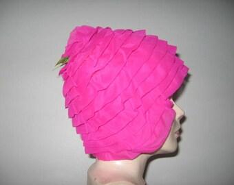 Vintage Swim Cap, Shocking Pink!