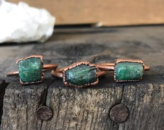 Raw Emerald Ring | Electroformed Raw Emerald Ring in Copper