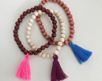 Set of three wood beaded bracelet with tassels, tassel bracelet, wood bracelet with a tassel, wood tassel bracelet