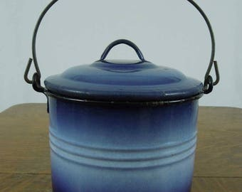 Graniteware Berry Bucket. Shaded Enamelware Bucket with Lid and Wire Handle. Wood Grip. Unique.