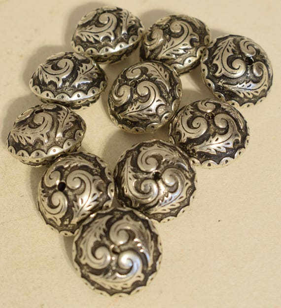 Beads Silver Ornate Carved Southwest Silver Beads 25mm