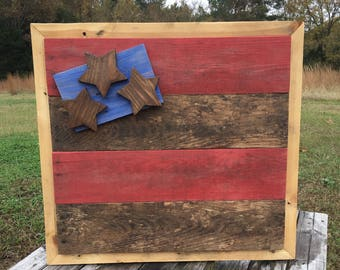 Wood American Flag - Flag Wall Art - American Flag - Rustic Flag - American Flag Art - Flag Wall Hanging - Wooden Flag- Veteran Gift
