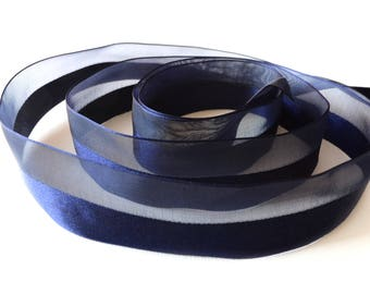 Navy blue satin fancy Ribbon 25 mm