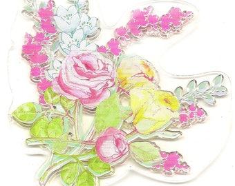 Stamp transparent flowers pattern