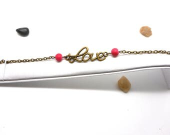 Love writing bracelet, pink red Pearl
