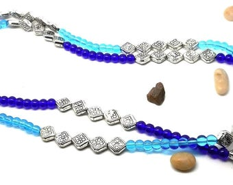 Necklace one or two strands, silver beads, turquoise and Navy beads charms and co.