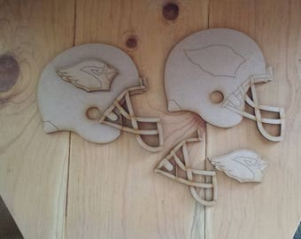 Arizona Cardinals helmets - unfinished wood cutouts (set of 2)