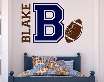 Personalized Football Name Decal - Custom Vinyl wall decals stickers, nursery, kids & teens room, removable decals stickers