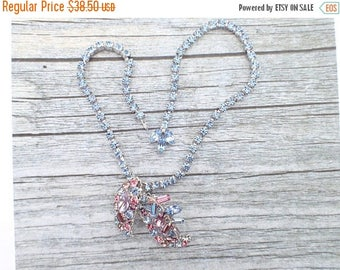 Half off Vintage Signed Marvella Pink and blue rhinestone necklace AC086