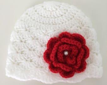 Newborn crochet baby hat, baby girl hat with flower, newborn beanie, crochet beanie, new baby hat, crochet, flower,white hat with red flower