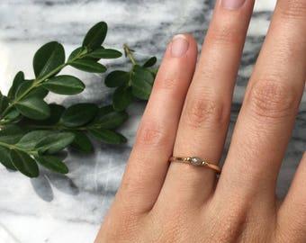 14 K Yellow Gold SPINNING Rosecut Diamond Ring