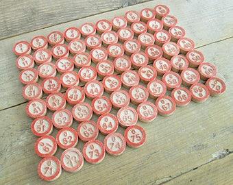 Lot of 75 vintage wooden bingo numbers, lotto numbers, chips, markers. Complete bingo number set.