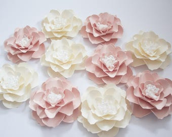 10 Cream Paper Flowers, Wall Paper Flowers, Pale Pink Paper Flowers, Table Centerpiece, Wedding Arch, Nursery Wall Decor, Pink Baby Shower