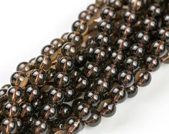 Natural Smokey Quartz beads, Smooth Round, Full Strand, 4mm, 6mm, 10mm, or 12mm beads