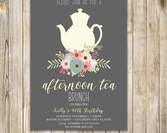 FLORAL AFTERNOON TEA Invitation, Shabby Chic Birthday Tea Party Invite, High Tea Invites, Floral Tea Party Invite, 40th Birthday Tea Party