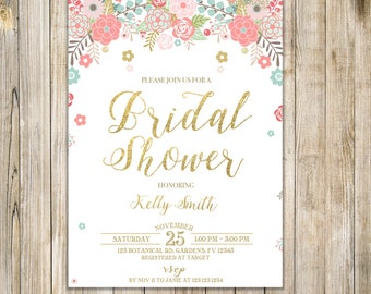 FLORAL BRIDAL SHOWER Invitation, Wedding Shower Invite, Garden Bridal Shower Invite, Bridal Shower Luncheon, Brunch and Bubbly, Hen Party