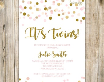 TWIN GIRLS SHOWER Invitation, Twins Baby Shower Invite, It's Twins, Pink and Gold, Confetti, Pink Baby Sprinkle, Couple Shower Invite, LA15