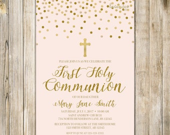 FIRST HOLY COMMUNION Invitation, Baby Girl First Communion, Holy Communion Invite, Baby Christening Invites, Blush Pink and Gold, LA20