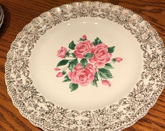 """Vintage China Bouquet Rose pattern by The Sebring Pottery Co. Ohio USA Two 10"""" Dinner Plates 1 K S-518 Warranted 22K Gold Trim Design"""