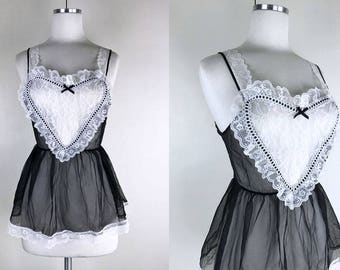 1960s Black and White Teddy and Panties Set // 60s Black and White French Maid Style Lingerie Set