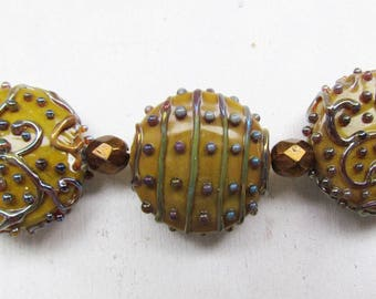 Brown lampwork beads set, 3 pc handmade lampwork beads, glass lampwork beads, lampwork beads for jewelry