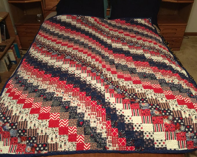 Patriotic Handmade Bargello Style Quilt, Full Size, Red White & Blue U.S.A. Flag Inspired