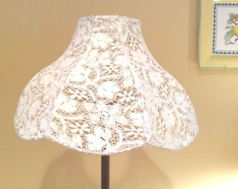 Lace Vintage Lampshade Large Shade White Cotswold Lace Shabby Chic Cottage French