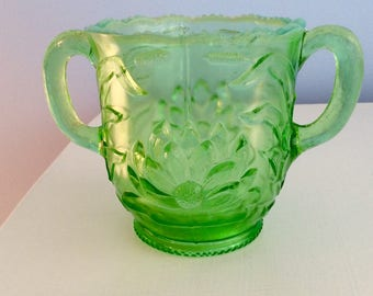 Vintage Green Carnival Glass Sugar Bowl Large