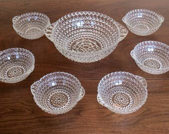 Vintage Pressed Glass Berry Set with 6 Bowls