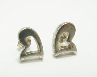 15% SALE - Vintage 925 Sterling Silver Heart Stud Earrings