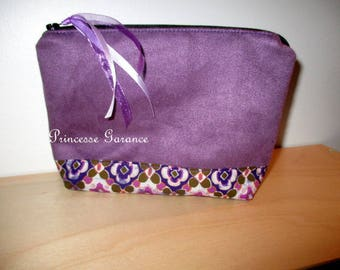 Christmas, birthday * makeup, travel pouch, handbag, purple, cotton suede floral - in stock