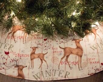 "Christmas Tree Skirt-Deer-Winter-Snow-Cardinal-Bird-Holiday Decor-Christmas Decoration-Cardinals-Birds-Buck-Doe-48-50"""