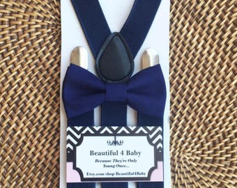 Navy Baby Bow Tie, Navy Blue Baby Bow Tie and Suspender Set, Navy Toddler Bow Tie, Navy Blue Baby Bow Tie- Navy Ring Bearer-6 Months to 5 Yr