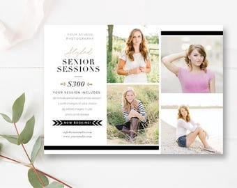 DIY - Senior Template, Mini Session Template, Senior Portrait Session Marketing Card, Mini Session Flyer Template for Photographers