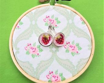 Handmade cross stitch earrings strawberry