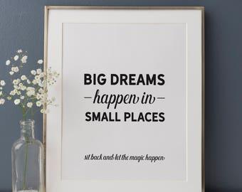 Funny Bathroom Art, Big Dreams Happen In Small Places, Bathroom Wall Art, Funny Bathroom Quote, Typography Print, Black and White Bathroom