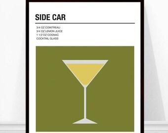 Side Car Cocktail Print, Vintage Cocktail Print, Cocktail Recipe Art, Alcohol Print, Side Car Recipe