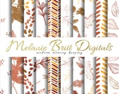 WATERCOLOR Leaves Digital Paper, Fall Leaves, Autumn Pattern, Hand Painted, Leaf Pattern, Scrapbook Paper, Printable pdf, INSTANT DOWNLOAD
