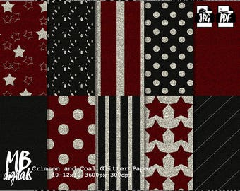 RED and BLACK, glitter Digital Paper, Printable pdf, stars, stripes, polka dots, digital paper pack, scrapbook paper, instant download