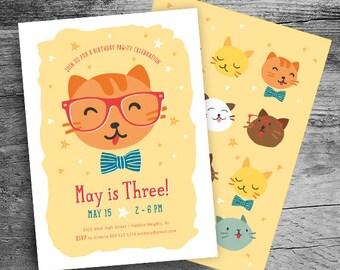 Cat Birthday Invitation - Kitty Cat Birthday Party - Calling All Party Animals Birthday Party  - Pet Party - Kid Birthday- First Birthday