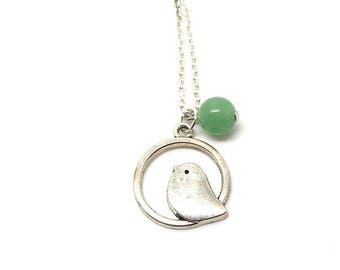 Necklace silver bird and green bead