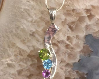 Made to order fine silver & gemstone pendant.