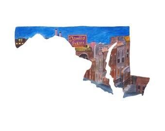 Baltimore Art PRINT - Charm City - Maryland State Map - Maryland Art - Baltimore Maryland Watercolor - State Art Print