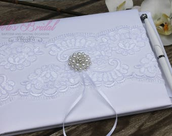 FAST SHIPPING!! Guest Book, White Guest Book, Lace Guest Book, Vintage Guest Book, Wedding Guest Book, Shabby Chic Guest Book,
